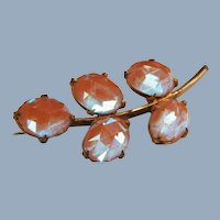 Antique Victorian Faceted Saphiret Glass Brooch Pin 1800's Leaf Leaves Branch Foliate C-Clasp