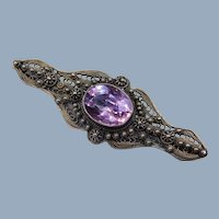 Antique Victorian Amethyst Handmade Cannetille Sterling Silver Filigree Brooch Pin Etruscan Revival 7.65 Ct