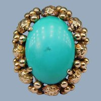 Huge Persian Turquoise Cabochon 14k Yellow Gold 1960's Cocktail Ring Handmade Grand Statement! Retro