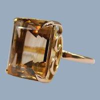 Vintage Emerald Cut Smoky Champagne Quartz 14k Rose Gold Handmade Cocktail Ring Modernist