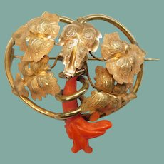 Antique Victorian Carved Coral Flower Leaves Foliate Brooch Pin Gilt 800 Silver 1800's