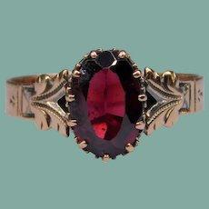 Antique Victorian Greek Revival Garnet Rose Gold Band Ring Inscribed Initials