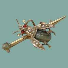 Antique Gilt 830 Silver Insect Fly Cabochon Chrysoberyl Cat's Eye Seed Pearl Brooch Pin