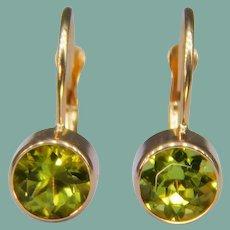14k Yellow Gold Peridot Lever Back Hook Earrings Signed Round Cut Bezel-Set Pierced
