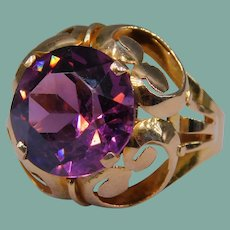 Vintage 14k Gold Retro Hand-Faceted Amethyst Paste Dome Cocktail Ring Handmade Celluloid Box