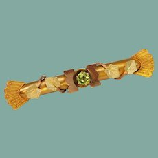 Antique Victorian Etruscan Revival Tri-Color 14k Yellow Rose Gold Peridot Leaf Brooch Pin