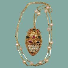 Vintage Tourmaline 18k 15k Gold Etruscan Revival Gemstone Cultured Pearl Crown Pendant Necklace 26 Grams