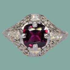 Antique Platinum Cushion Cut Rhodolite Garnet Diamond Floral Ring Engraved Edwardian or Art Deco