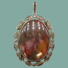 Antique Arts and Crafts Agate 800 and Sterling Silver Foliate Leaf Leaves Pendant Edwardian