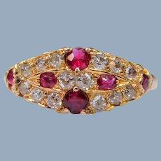 Antique Victorian Belle Époque Natural Ruby Old European Cut Diamond 14k Yellow Gold Ring