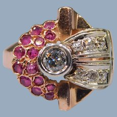 Vintage Retro Diamond Ruby 14k Rose White Gold Cocktail Ring 1930's - 1940's
