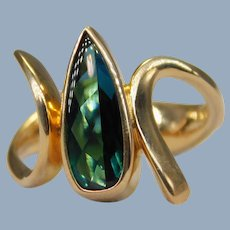 Vintage Custom Abstract 14k Yellow Gold Pear-Shaped Green-Blue Tourmaline Ring OOAK Modernist