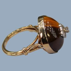 Vintage Art Deco 14k Yellow Gold Tiger's Eye Cabochon Diamond Dome Cocktail Ring Unusual