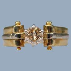 Champagne Diamond 14k Yellow White Gold Modern Custom Solitaire Engagement Wedding Ring Designer Signed