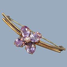 Vintage Amethyst Cultured Pearl Flower Floral Brooch Pin Rose Gold Filled Signed WRE