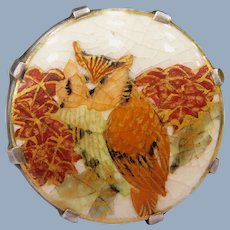 Antique Japanese Satsuma Pottery Hand Painted Owl Leaves Sterling Silver Ring Asian 1890-1910