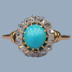 Antique Victorian 15k Gold Persian Turquoise Rose Cut Diamond Halo Flower Ring Belle Époque