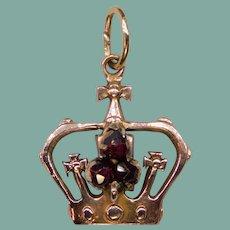 Vintage Bohemian Garnet 12k Rose Gold Crown Pendant Charm Signed Moeller 14k Yellow Bail