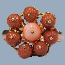 Vintage 14k 12k Yellow Gold Goldstone Coral Kinetic Flower Floral Ball Sphere Ring Handmade