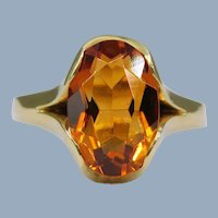 Vintage Citrine Oval 585 14k Green-Yellow Gold Modern Solitaire Cocktail Ring