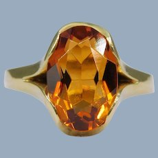 Vintage Madeira Citrine Oval 585 14k Green-Yellow Gold Modern Solitaire Cocktail Ring