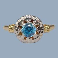 Vintage 14k Yellow White Gold Blue Zircon Art Deco Orange Blossom Ring Flower Floral