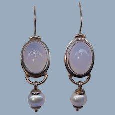 Lavender Chalcedony Cabochon Cultured Pearl Sterling Silver Dangle Earrings Pierced Designer JGD Janice Girardi