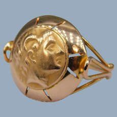Vintage Signet Ring 14k Yellow Gold Alexander the Great Greek Bust Handmade Unisex