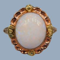 Vintage Art Deco Opal Cabochon 10k Rose Yellow Gold Floral Cocktail Solitaire Ring Signed