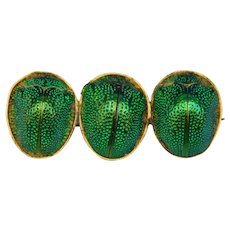 Antique Victorian Genuine Scarab Beetle Insect Bug Brooch Pin Iridescent Green Egyptian Revival 1800's