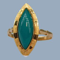 Antique 15k Yellow Gold Chrysoprase Navette Marquise Ring Engraved Green Chalcedony Delicate Eastern European