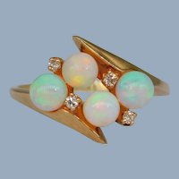 Vintage Opal Diamond 14k Yellow Gold Ring Signed B&H Retro Spheres Orbs Cluster Bypass