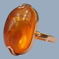 Vintage Retro Natural Russian Baltic Amber Cabochon 14k Rose Gold 583 Cocktail Ring Hallmarks