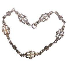 Vintage Sterling Silver Peruzzi Italian Link Bracelet Renaissance Revival Flowers Floral