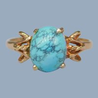 Vintage 14k Yellow Gold Spiderweb Turquoise Cabochon Solitaire Ring Estate Signed Size 7