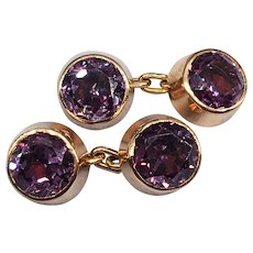 Vintage Synthetic Alexandrite Cufflinks in Rose Gold c1920
