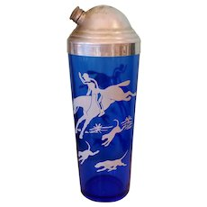 "Vintage 1930's Hazel Atlas ""Hunt Scene"" Cobalt Depression Glass Cocktail Shaker"