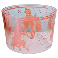 Vintage Hazel Atlas Musical Dancing Pink Pigs Ice Bucket