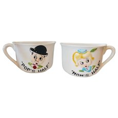 Vintage Mom & Pop's Half Novelty Coffee Mug Set