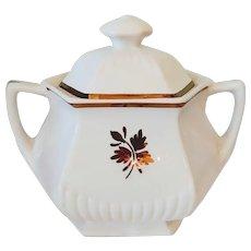 "Vintage Wm Adams & Sons Micratex ""Tea Leaf Copper"" Ironstone Sugar Bowl"