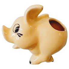 Vintage Unmarked Morton Pottery Running Piggy Ceramic Wall Pocket
