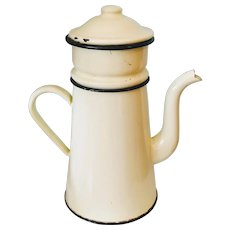 Vintage Yellow and Black Enamelware Coffee Pot