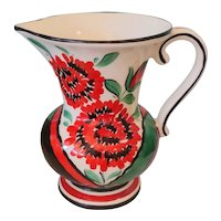 Vintage Art Deco Ditmar Urbach Hand Painted Czech Pottery Pitcher