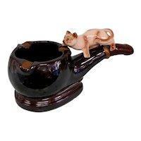 Vintage Napco Ceramic Siamese Cat on a Pipe Ashtray