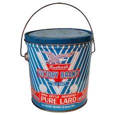 Vintage 1940's Sucher's Victory Brand Metal Lard Bucket