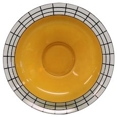 Vintage Black and Yellow Art Deco Glass Console Bowl-Possibly Jeannette Glass