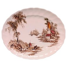 """Vintage Johnson Brothers Multi Color Brown """"The Old Mill"""" Transferware Platter- 12"""""""