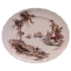 """Vintage Johnson Brothers Multi Color Brown """"The Old Mill"""" Transferware Platter- 13"""""""
