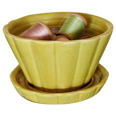 Vintage Chartreuse Shawnee Pottery Flower Planter