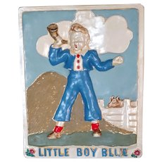 Vintage Little Boy Blue Nursery Rhyme Chalkware Plaque